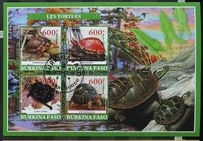 Burkina Faso 2019 - CTO aršík, želvy, vodní fauna, plazi