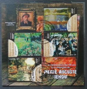 Togo 2019 - CTO aršík, malíři impresionismu, Renoir a umění