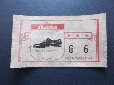 Starý štítek nálepka prodej obuv pánské boty Gentleman Bata Zlín