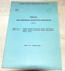 ČSD TR7 TARIFA PRE PREPRAVU KUSOVÝCH ZÁSIELOK 1993 VLAK VAGON KOLEJE