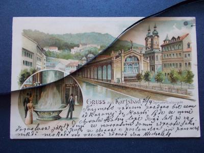 Karlova Vary Karlsbad Mlýnská kolonáda vřídlo litografie koláž