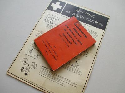 Starý leták první pomoc a Bezpečnostní předpisy /obsluha zařízení ČSSR