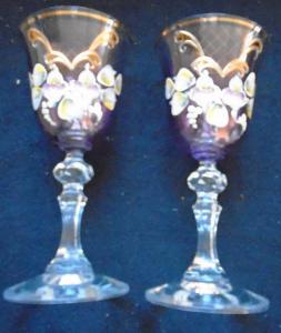 Sada ručně malovaných skleniček/2 ks...(11347)