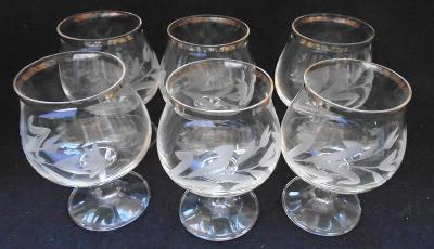 Sada skleniček na víno s broušeným motivem/6 ks... (11368)