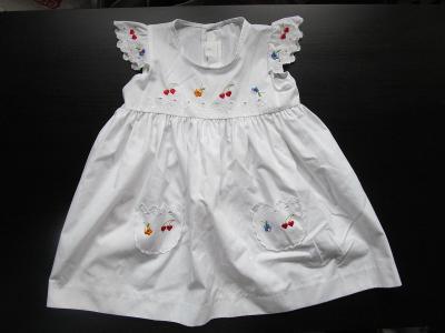 Dívčí bílé šaty s kvítky, vel. 104, 3-4 roky