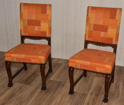 Starožitné řezbované židle na lvích tlapách