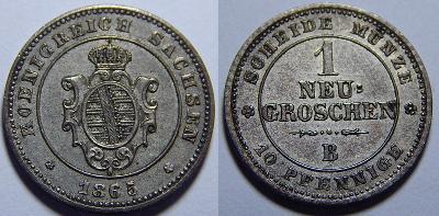 Německo Sasko Johann 1 Groschen 1865B XF č31291