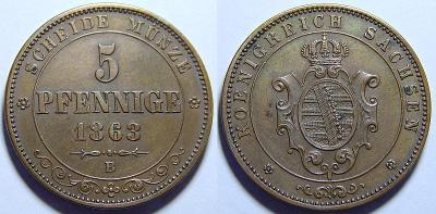 Německo Sasko Johann 5 Pfennige 1863B UNC č31292