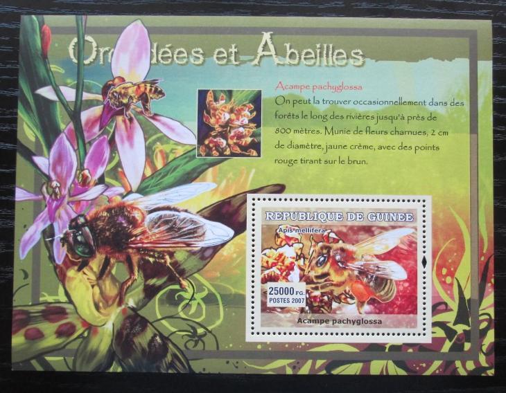 Guinea 2007 Včely a orchideje Mi# Block 1179 Kat 7€ 0435 - Filatelie