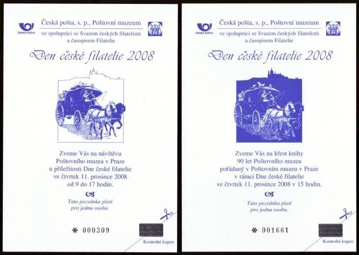 POF. PPM 3, 4 - POZVÁNKY DEN ČESKÉ FILATELIE 2008, SČF+KF (S410) - Filatelie