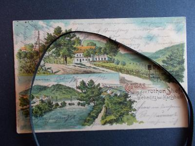 Karlovy Vary Karlsbad Bohatice litografie