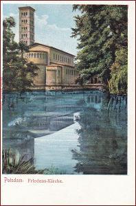 Potsdam * Friedens Kirche, kostel, jezero, park * Německo * Z1906