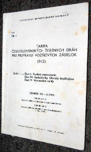 ČSD TR1 TARIFA ČSD PRE PREPRAVU VOZŇOVÝCH ZÁSIELOK TVZ 1990 VLAK KOLEJ