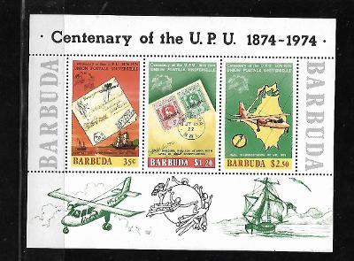 Barbuda Block 10.,  100 let UPU, známky na známce, loď, letadlo