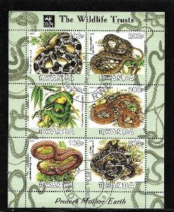 Rwanda 2003 -Hadi - lykodon vlkozubý, ostrolebec, chřestýšovec, užovky