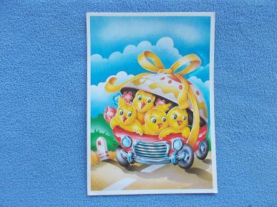 Pohlednice Velikonoce humor žert kuřata v automobilu
