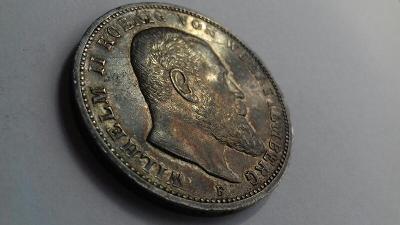 Stříbrná 3 Marka1914 Württemberg Wilhelm II. Originál. Z Proof.