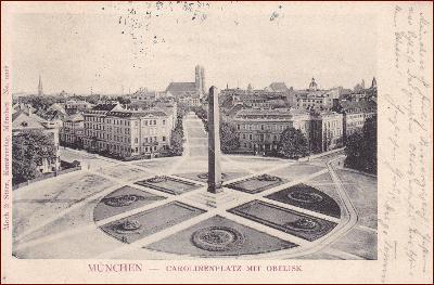 München * obelisk, náměstí, kostel, část města * Německo * Z2169