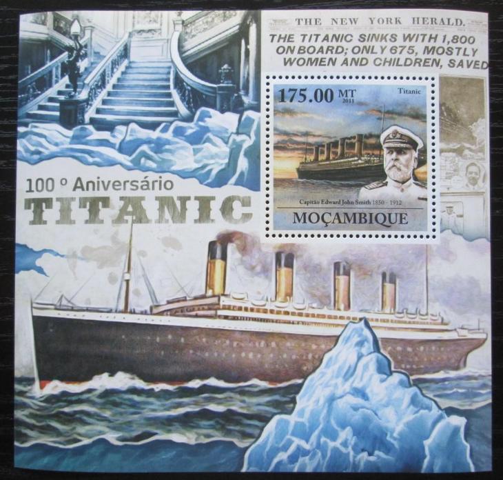 Mosambik 2011 Loď Titanic Mi# Block 555 Kat 10€ 2100 - Filatelie