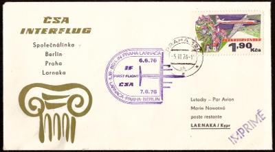 PAMĚTNÍ OBÁLKA INTERFLUG - LET PRAHA, BERLÍN, LARNAKA 1976 (S527)