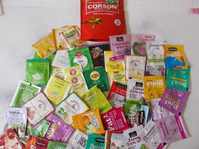 Sbírka krabička  obaly čaj mix svět Belgie Egypt Turecko Mauritius