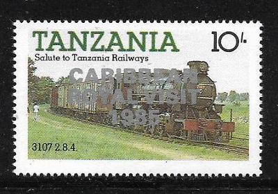 TANZÁNIE 295 Parní lokomotiva, přítisk CARIBBEAN