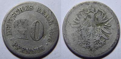 Německo Císařství 10 Pfennig 1876C F č30668