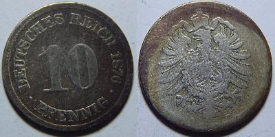 Německo Císařství 10 Pfennig 1876D F č30674