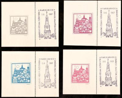 PARDUBICE 1967 - 4 VSTUPENKY NA VÝSTAVU MLADÝCH FILATELISTŮ (S591)