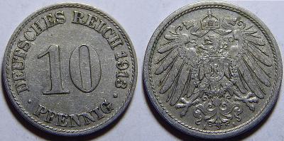 Německo Císařství 10 Pfennig 1913A XF č30618