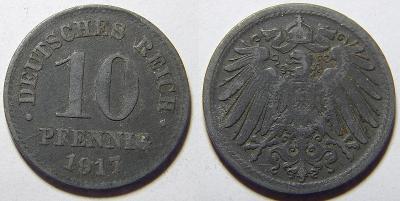 Německo Císařství 10 Pfennig 1917 XF č30666