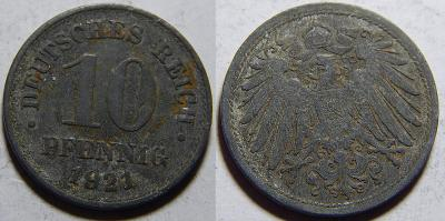 Německo Císařství 10 Pfennig 1921 VF č30650