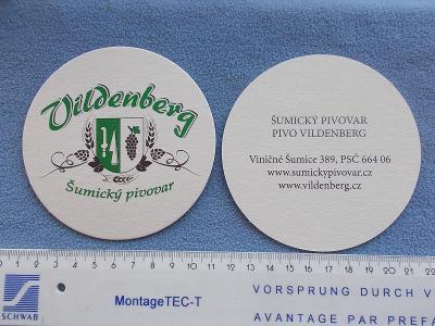 Pivní tácek podtácek sada sestava 2 ks  Vildenberg Viničné Šumice pivo