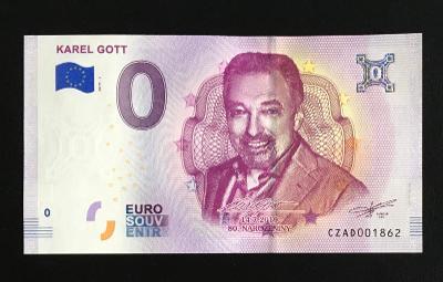 0 Euro Souvenir bankovka KAREL GOTT 2019 - 80. narozeniny - TOP