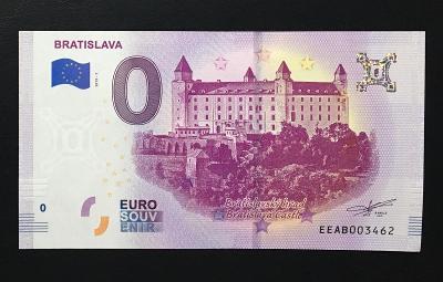 0 Euro Souvenir bankovka BRATISLAVA 2019 - Bratislavský hrad - TOP