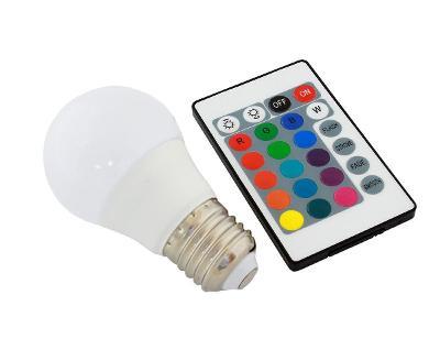 LED žárovka RGB s dálkovým ovládáním E27 3W + dárek