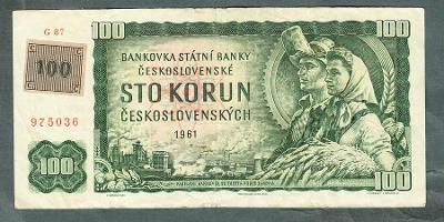 100 kčs 1961 serie G !! KOLEK