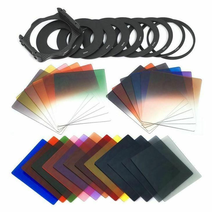 Sada filtrů - držák filtrů, adaptačních kroužky a 24ks filtrů - Foto