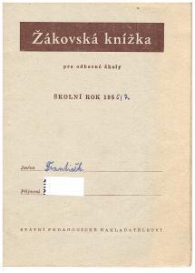 Stará žákovská knížka pro odborné školy  pro školní rok 1956/7