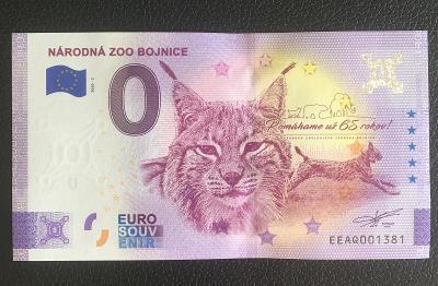 0 Euro Souvenir bankovka ZOO BOJNICE [NOVÝ DESIGN] 2020 - TOP