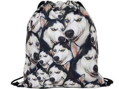 Trendy stahovací batoh batůžek vak s potiskem 3D - Vlky Husky