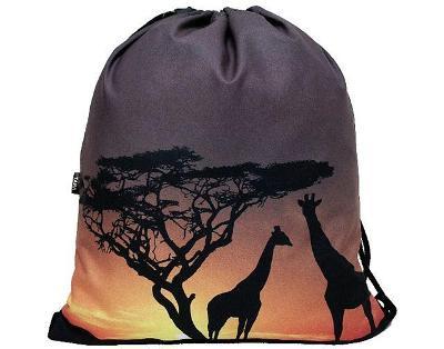 Trendy stahovací batoh batůžek vak s potiskem 3D - Africa Safari