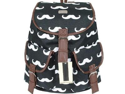 Módní a Stylovy Retro Batoh Vintage Mustache Knír - černý