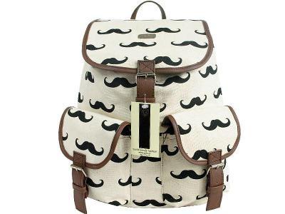 Módní a Stylovy Retro Batoh Vintage Mustache Knír - bílý