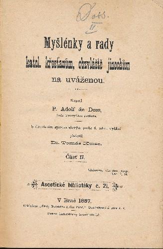 kniha Myšlenky a rady..., 1887