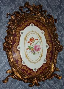 Zámecký porcelánový obraz ve zlaceném rámu