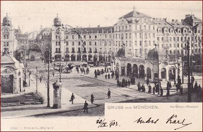München * Karlsthorrondell, lidé, tramvaj * Německo * Z605