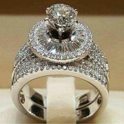 Prsten postříbřený 2 v 1 s kamenem white sapphire