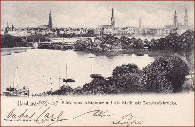 Hamburg * Lombardsbrücke, most, část města * Německo * Z158