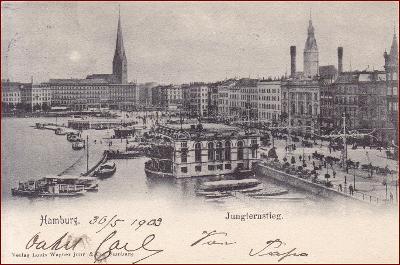 Hamburg * Jungternstieg, lodě, část města * Německo * Z957